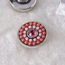 20MM Round snap Silver Plated with rhinestone and small orange beads KB6436 snaps jewelry
