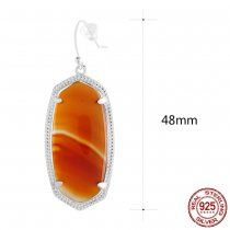 S925 Sterling Silver Kendra Scott style Elle Drop Earrings with red agate GM6007