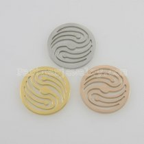 25MM stainless steel coin charms fit  jewelry size wave
