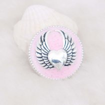 20MM Wing snap silver Plated with pink enamel KC6948 snaps jewelry