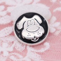 20MM dog snap silver Plated black enamel KC6952 snaps jewelry