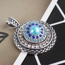 20MM Flower snap Antique Silver Plated with blue  rhinestone and pearl KB8089 snaps jewelry