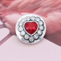 20MM heart snap silver plated with red rhinestone KC7878 snaps jewelry