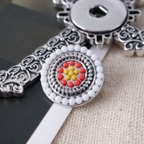 20MM Round snap Silver Plated with  colorful small beads KB6434 snaps jewelry