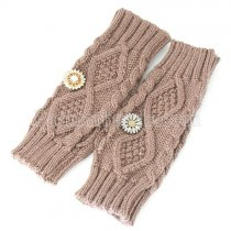 Knitted gloves fit 18mm snap button  Khaki