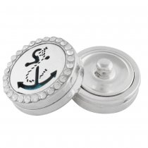 22mm white alloy anchor Aromatherapy/Essential Oil Diffuser Perfume Locket snap with 1pc 15mm discs as gift