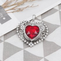 20MM loveheart silver plated with red big Rhinestone snap jewelry