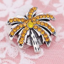 20MM Tree snap with Orange rhinestones KC6955 snaps jewelry
