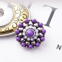20MM Flower snap Silver Plated with small purple beads KB6441 snaps jewelry