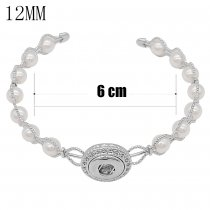 1 buttons snap sliver bracelet with pearl fit 12MM snaps jewelry KS1265-S