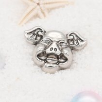 20MM happy pig snap button Chapado en plata KC5721 snap jewelry