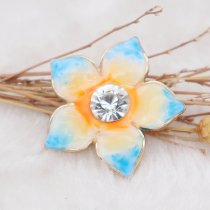 20MM Flowers snap gold Plated with rhinestone orange enamel KC6974 snaps jewelry