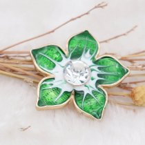 20MM Flowers snap gold Plated with  rhinestone and green enamel KC6970 snaps jewelry