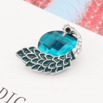 20MM Peacock design snap silver Plated with cyan rhinestone KC6992 snaps jewelry