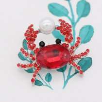 20MM Crab Design Snap versilbert mit rotem Strass KC8010 Snaps Schmuck