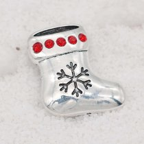 Christmas 20MM design Christmas stocking snap with Red rhinestone KC9106 snaps jewelry