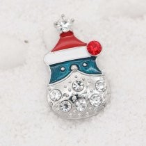 Christmas 20MM design Snowman snap with White rhinestone KC9108 snaps jewelry