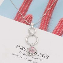 silver pendant Necklace with White rhinestones 60cm chain KS1285-S fit 12MM chunks snaps jewelry