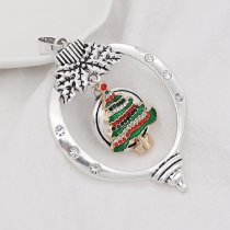 Christmas 20MM design Christmas tree with White   red and green rhinestone enamel KC8034 snaps jewelry