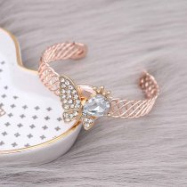 Butterfly 20MM  snap Gold Plated with White rhinestone KC9131 snaps jewelry