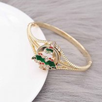 Christmas 20MM design Christmas tree with White   red and green rhinestone enamel KC8042 snaps jewelry