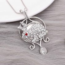 20MM Rabbit snap Silver Plated with white rhinestone KC9192 snaps jewelry
