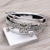 1 buttons gray leather with white rhinestone KC0504 new type Bracelet fit 20mm snaps chunks