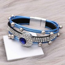 1 buttons Blue leather with white rhinestone KC0506 new type Bracelet fit 20mm snaps chunks