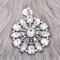 snap sliver Pendant With white rhinestones fit 20MM snaps style jewelry KC0471
