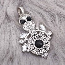 snap sliver Pendant With white rhinestones fit 20MM snaps style jewelry KC0473