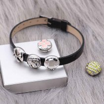 Black Changeable beads Leather bracelets without beads