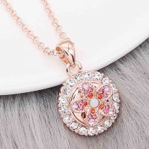 12MM Blume Rose Gold Metall Reize Snap mit rotem Strass KS7105-S Snaps Schmuck