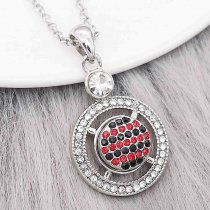 12MM design Round metal charms snap with Black and red rhinestone KS7090-S snaps jewelry