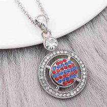 12MM design Round metal charms snap with Blue and red rhinestone KS7089-S snaps jewelry