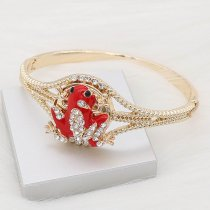 20MM Frog snap gold Plated with white rhinestone and red enamel KC9251 charms snaps jewelry