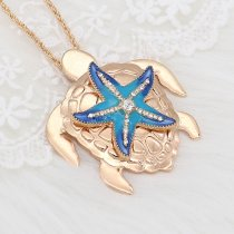 20MM Starfish snap gold Plated with Light Blue  charms KC9240 snaps jewerly