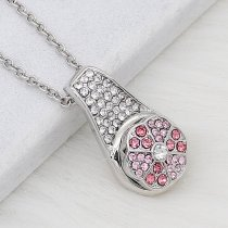 12MM design Round metal silver plated snap with pink rhinestone KS7137-S charms snaps jewelry