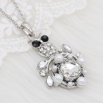 20MM design snap silver plated with White rhinestone and pearls charms KC8096 snaps jewelry
