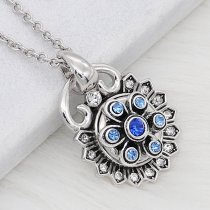 12MM design metal silver snap with blue rhinestone KS7126-S charms snaps jewelry