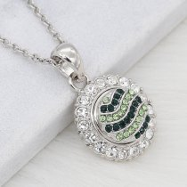 12MM design Round metal silver plated snap with green rhinestone KS7131-S charms snaps jewelry
