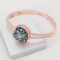 20MM flower snap Rose Gold with blue rhinestone and enamel KC8079 charms snaps jewelry