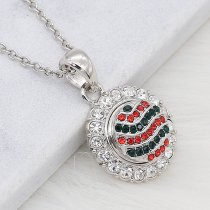 12MM Christmas design Round metal silver plated snap with green and red rhinestone KS7130-S charms snaps jewelry