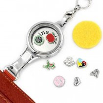 Dia 30mm floating charm Locket with ID cards holder