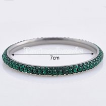 Three rows green rhinestone stainless steel bangle Bracelet