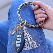 Bangle Key Ring Winter type Leopard brown leather Big ring Key Chain tassel bracelet