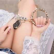 With gray  rhinestones color leather Big ring bangle Key Ring Key Chain tassel bracel