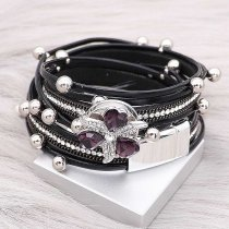 20MM snap silver Plated with Heart-shaped purple rhinestones KC9277 charms snaps jewelry