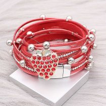 1 buttons Red leather KC0520 with Small Pendants new type bracelets fit 20mm snaps chunks