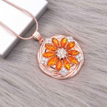 20MM Blumen Snap vergoldet mit Orange Strass KC9290 Charms Snaps Schmuck