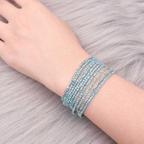 10 pcs/lot Rhinestones Sparkling Elastic Bracelet with 80pcs light blue color rhinestones